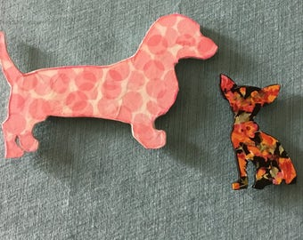 Set of Two Wooden Dogs Dachshund and Chihuahua