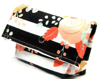 Business Card Holder, Gift Card Holder, Purse Accessory, Credit Card Holder, Grocery Card Holder, Ready to Ship, Striped Floral