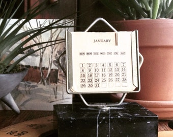 Vintage Perpetual Calendar with Black Marble Base Desk Accessary Office Decor Paperweight