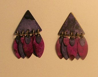 Triangular patina & copper earrings