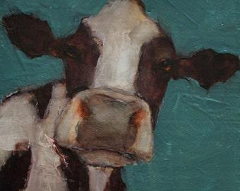 COW FOLK Art Colette W. Davis 4x4 Art Giclee print  Holstein Cow