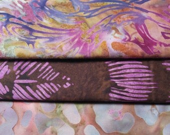 Batik Cotton Fabric Lavendar Bundle 4 yards total Quilting Sewing Crafting