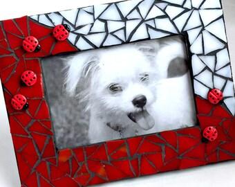 Ladybug Mosaic Frame, Mosaic Ladybug Red and White Picture Frame, Red White LadyBug Mosaic Frame, Lady Bug Mosaic Frame, Red White Black