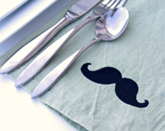 Mustache Napkins Set of 6 in WILLOW GREEN Linen Great Gift Idea Christmas Gifts