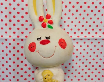 Vintage Japan IWAI Rare White Bunny Squeeze Toy Baby Big Eyed Doll