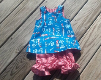 Dr. Seuss Dress - Cat in The Hat - Dr. Seuss Birthday - Girls Birthday Outfit - Dress - Bloomers - Groovy Gurlz
