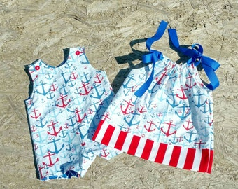 Clothing For Twins - Brother Sister Outfit - Boy Girl Twins - Nautical Clothing for Twins - 4th of July - Groovy Gurlz - Anchors