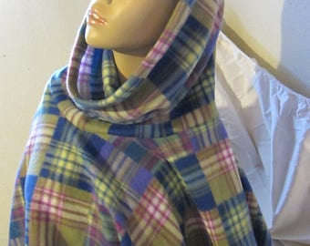 Plaid Patchwork Print Fleece Cowl Neck Poncho, Hooded Poncho