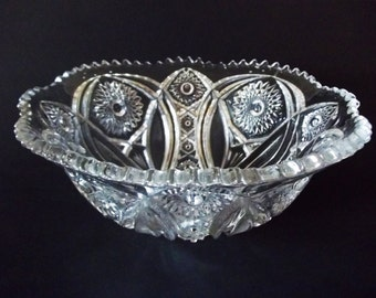 Imperial Hobstar Punch Bowl, Flower & Arches, Early American Pressed Glass (EAPG), No Base, USA 1900s