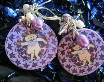 Purple Dancing Bears or Not? Clay Dangle Earrings