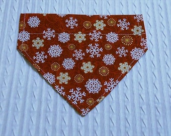 Dog Bandana with Snowflakes on Maroon in Over Dog Collar Style Sizes XS to XL