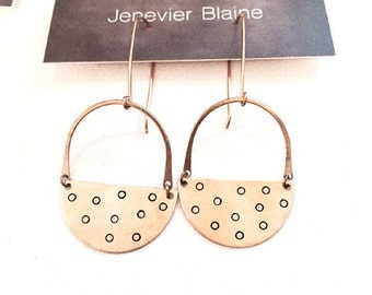 Golden Half Circle Polka Dot Earrings