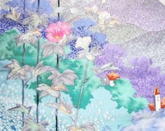 Japanese Kimono Wedding Obi Silk Piece Misty Mountain Landscape Hollyhocks Mallow Flowers Village Church