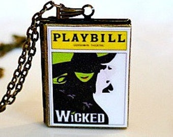 Wicked, Broadway Musical, Elphaba, Idina Menzel, Glinda, Kristin Chenowith, The Wizard Joel Grey, Defying Gravity, Playbill Locket