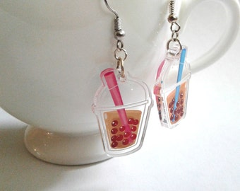 Bubble Tea clear acrylic charm earrings
