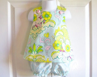 LAST ONE - Cross-Back Pinafore Top and Bloomers Set baby or toddler - size 6 mos to 4 - Pineapple Brocade in Ice - Pop Garden Collection