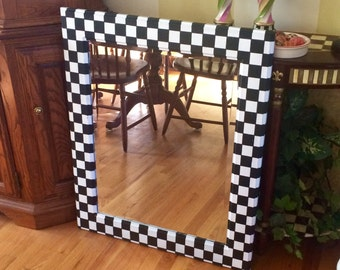 Whimsical Painted mirror // black and white checked mirror // wall mirror