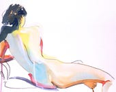 Nude painting- Original watercolor painting of Nude #1399 by Gretchen Kelly