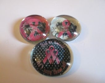 3 Breast Cancer Awareness Handmade Glass Magnets