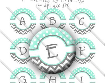 Mint & Gray Chevron Polka dot Bottle Cap Images Digital 1 Inch Circle Alphabet Alpha Digi - Instant Download - BC590