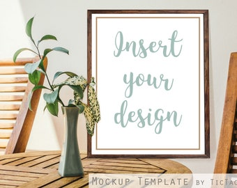 Mockup Print Poster Picture Photo Template 8x10 Insert Rustic Wood Greenery Plant - Instant Download