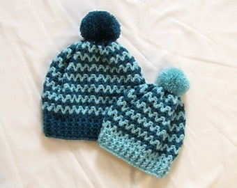 Crochet Mommy and Me Hats - Crochet Beanie, Mommy & Me, Crocheted, Handmade, Crochet Winter Beanie, Crochet Matching Hats, Custom Order