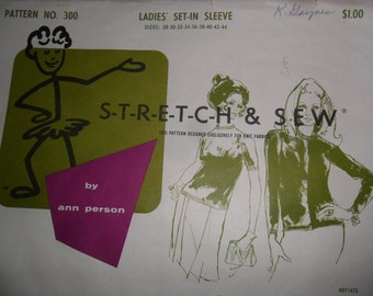 Antique 1967  Stretch & Sew no. 300 Pattern for Ladies Set-in Sleeve Top in sizes 28 Thru 44