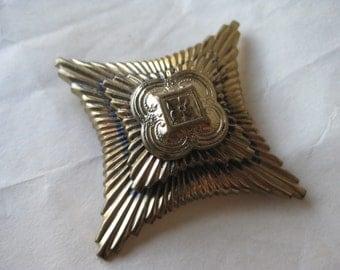 Gold Cross Brooch Vintage Pin