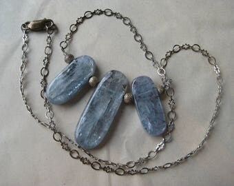 Labradorite Sterling Necklace Blue Gray Silver Stone Vintage Pendant