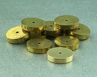 Ten vintage brass heishi beads, hefty brass beads