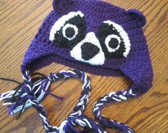 Crochet Purple Raccoon Beanie Hat