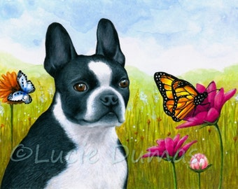 Greeting Card Note Cards 5x7 Dog 134 Boston Terrier butterfly art print from original by L.Dumas