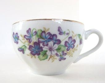 Vintage Tea Cup - Purple, Blue and White Violets from Japan