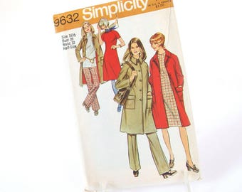 UNCUT Vintage 1970's Coat, Dress and Pants Half Size Sewing Pattern Simplicity 9632, Bust 39 Inches