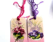12 Gift Tags, Cottage Chic, Floral Purple Fuchsia Pink, Script Background, Hang Tags, Party Favor Tags, Handmade