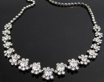 Vintage Rhinestone Choker Necklace Bridal Jewelry N7708
