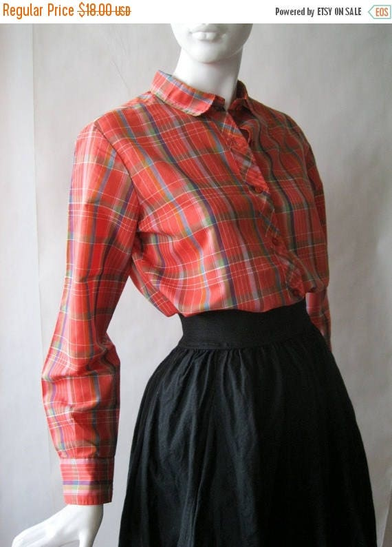 MOVING 4 GRADSCHOOL SALE Early 1980's plaid shirt in red, blue, olive green, white, orange, and brown, medium / large