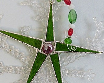 Stained Glass Ornament, Kelly Green Star, with Red and Green, Crystal Glass Beads
