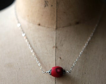 Red Coral Necklace, Sterling Silver Pendant, Minimal, Hill Tribes Silver, Gift for Her, Under 50