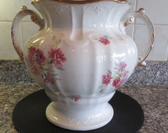 Vintage Maddocks Lambert white ironstone footed slop jar with lid and floral transfer and gold design