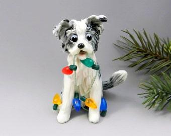 Border Collie Blue Merle Christmas Ornament Figurine Porcelain