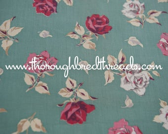 Shabby Chic Roses - Vintage Fabric New Old Stock 40s 50s 34 in wide