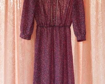 Vintage Dress - Pink Floral Garden Pearls Lace Day Dress