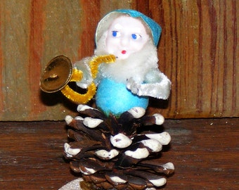 Vintage Pine cone Gnome or Pixie Elf with  Chenille and  Spun Cotton Trim