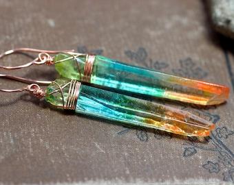 Rainbow Quartz Earrings Aura Quartz Crystal Boho Luxe Rustic Copper Jewelry