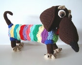 Dachshund Dog Crochet Toy Novelty Puppy Kids Baby Animal Stuffy Weiner Dog