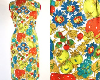 1950's 1960's Novelty Print Watercolor Fruit Sheath Dress //  36 Bust // Abstract // Mustard Gold Blue Red // Sleeveless // Mod