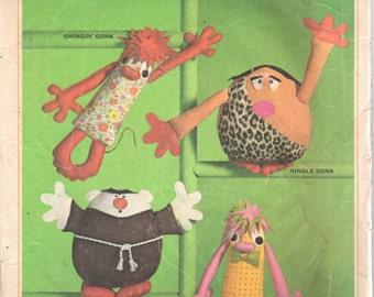 Simplicity 6807 1960s Set of GONKS Pattern Dolls Swingin Jungle Friar Gonk Wilbur Gonk 12 and 6 inches Vintage Toy Sewing Pattern