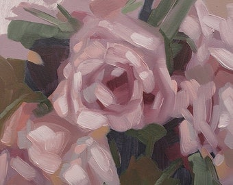 "Small Oil Painting of Abstracted Pink Roses, Original Flower Painting, Contemporary Floral Art, Gift for Her - ""Pinks"""
