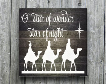 Rustic Christmas Decor DIY Christmas Nativity Sign Christmas Decal Wise Men Country Christmas Primitive Christmas Wall Decor